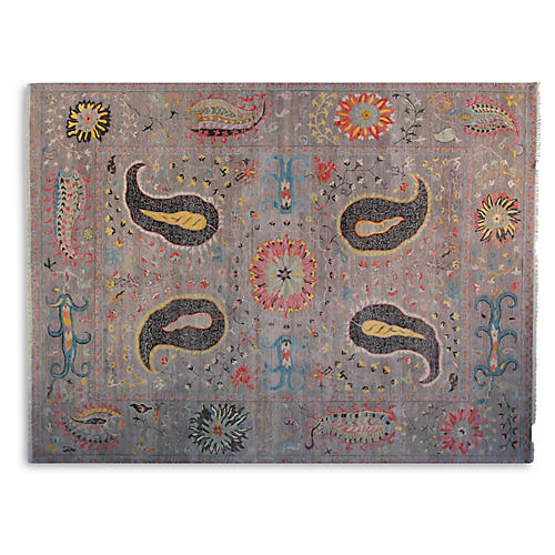 9'x12' Dahlia Sari Wool Suzani Rug, Gray