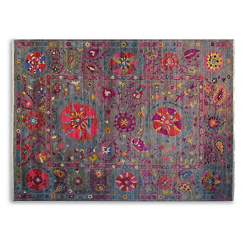 9'x12' Celeste Sari Wool Suzani Rug, Gray