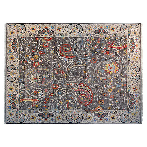 8'x10' Claudia Sari Wool Rug, Gray