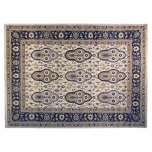 9'x12' Nasha Sari Wool Rug, Beige