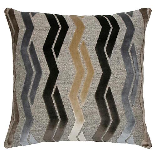 Paxton 22x22 Pillow, Mocha/Gray Velvet