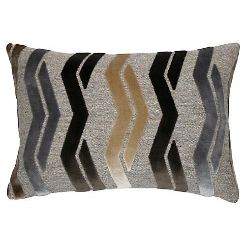 Paxton 14x20 Lumbar Pillow, Mocha/Gray Velvet