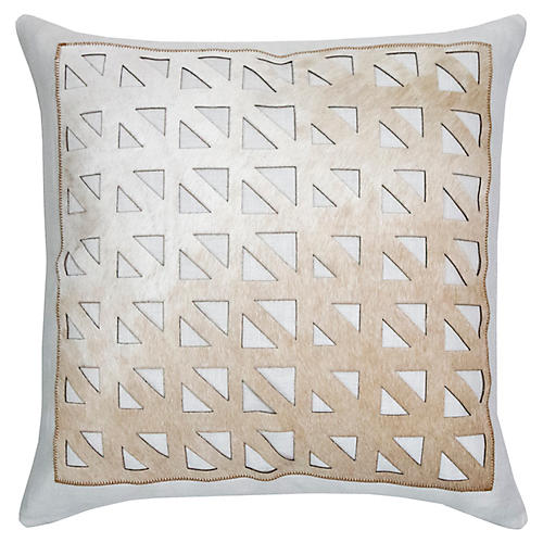 Mason 22x22 Pillow, Ice/Camel