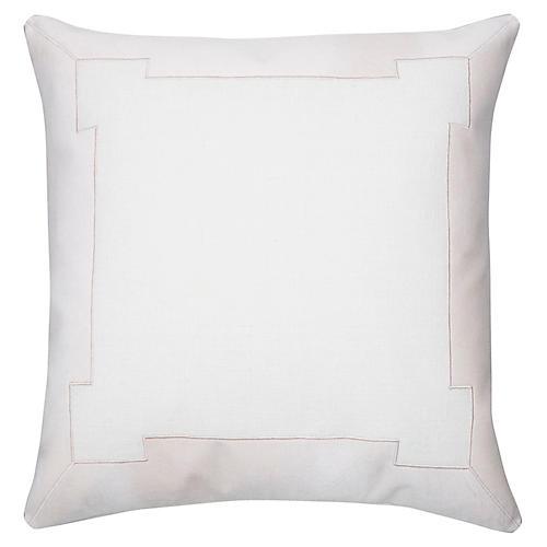 Collins 24x24 Pillow, White/Blush Velvet
