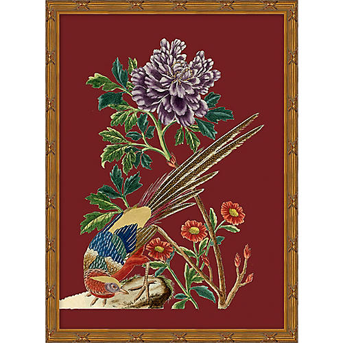 Red Chinoiserie Birds I