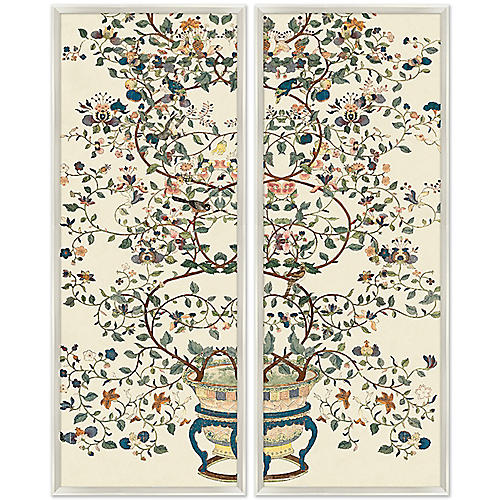 Flower Pot Chinoiserie Branches Diptych