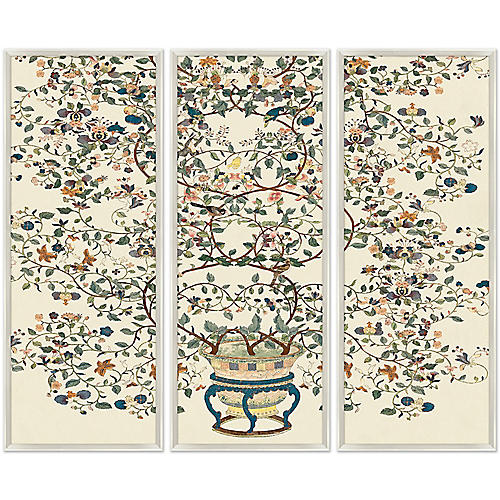 Flower Pot Chinoiserie Branches Triptych