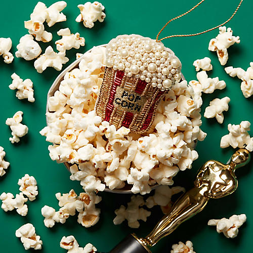 Beaded Popcorn Ornament, Gold/Red