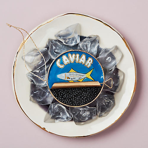 Caviar Ornament, Blue/Gold