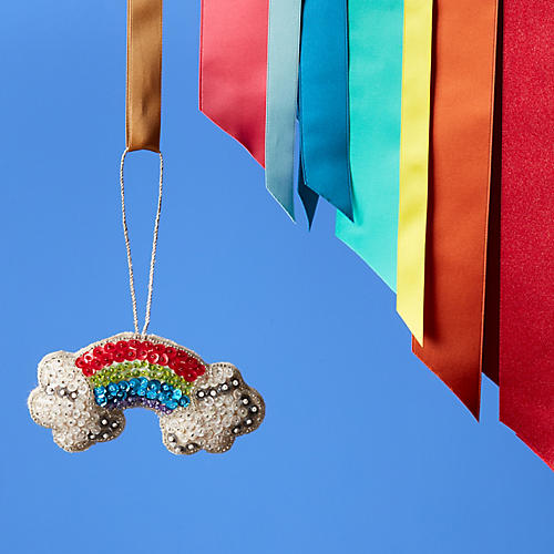 Beaded Rainbow & Clouds Ornament, Silver/Multi