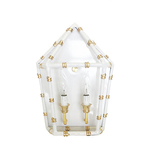 Bamboo-Style Sconce, White