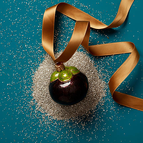 Ripe Plum Ornament, Purple/Green