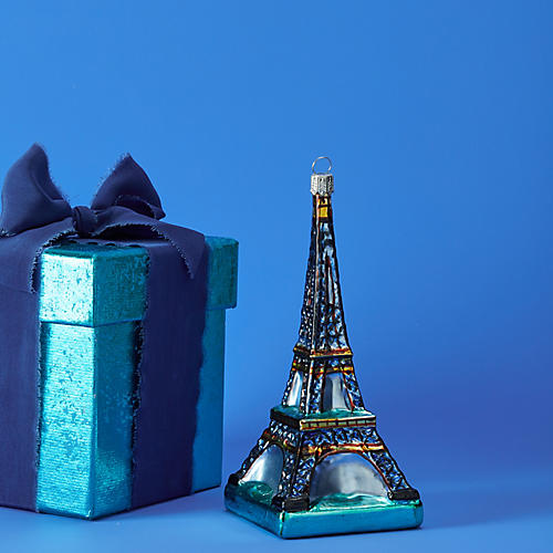 Eiffel Tower Ornament, Blue/Green