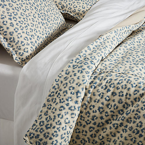 Carrie Leopard Duvet Set, Blue