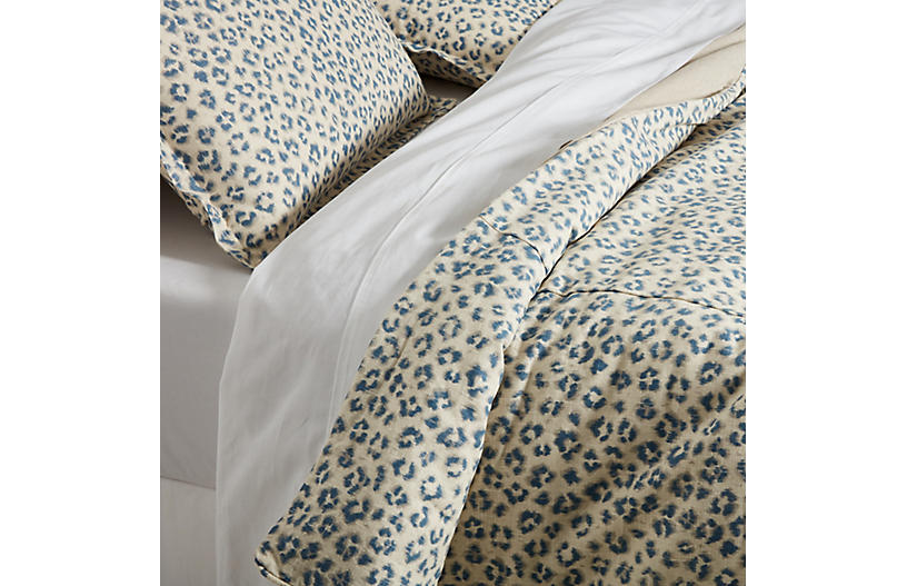 Carrie Leopard Duvet Cover, Blue