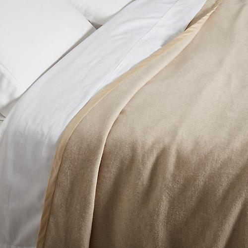 Heather Cotton Blanket, Bisque