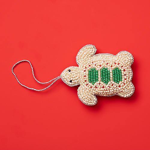 Baby Sea Turtle Ornament, Green/Tan