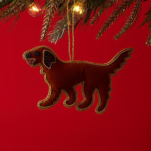 Velvet Golden Retriever Ornament, Caramel
