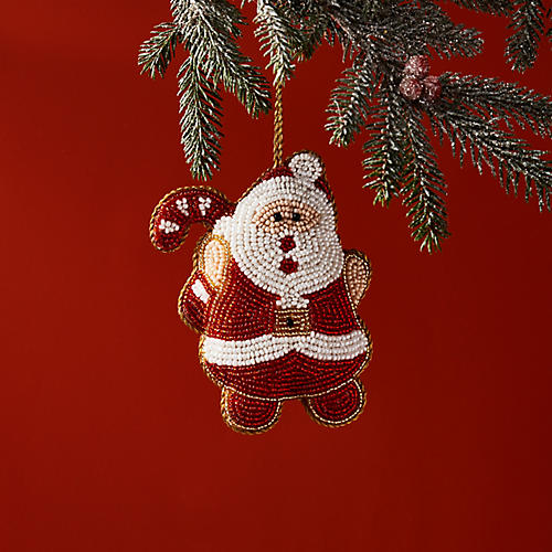 Jolly Santa Ornament, Red/White
