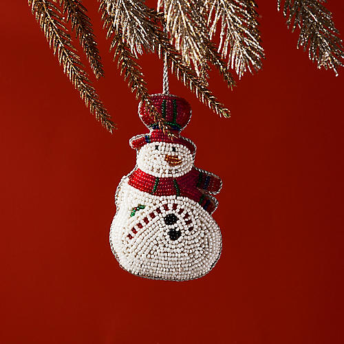 Festive Snowman Ornament, Red/White