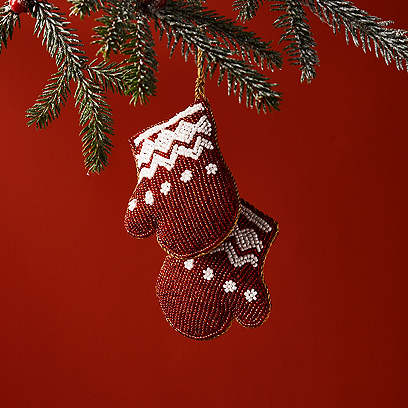 Two Mitts Ornament, Red/White