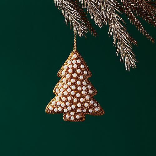 Pearl Tree Ornament, Gold/White