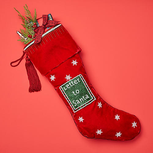 "23"" Letter to Santa Velvet Stocking, Red"