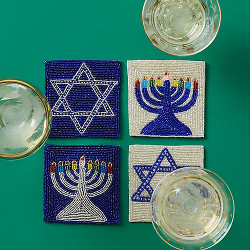 Asst. of 4 Star of David Coasters, Blue/Silver