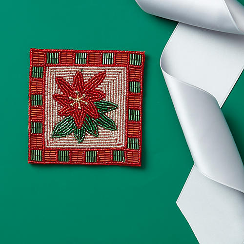 S/4 Poinsettia Coasters, Red/Green