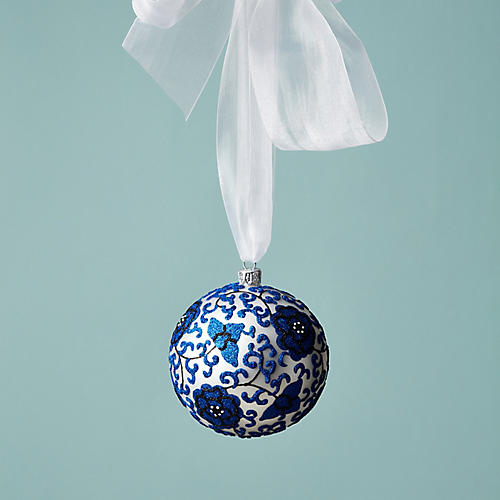 Ginger Jar Chinoisiere Ornament, Blue/White