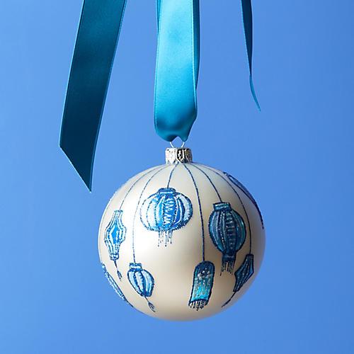 Lanterns Ornament, White/ Blue