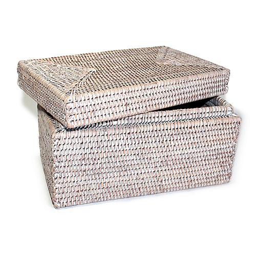 "12"" Collis Storage Basket w/ Lid, Whitewash"