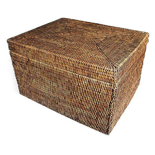 "19"" Cormer Wide Storage Basket w/ Lid, Brown"