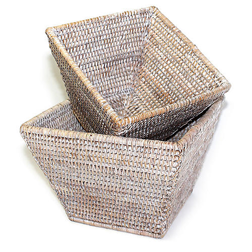 Asst. of 2 Dumont Square Baskets, Whitewash