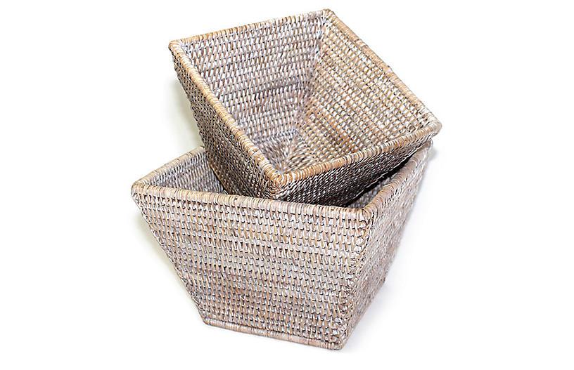 Asst. of 2 Dumont Square Baskets, Whitewash