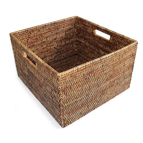 "15"" Dunloy Open Storage Basket, Brown"
