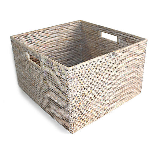 "15"" Dunloy Open Storage Basket, Whitewash"