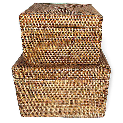 Asst. of 2 Evans Square Storage Baskets, Brown
