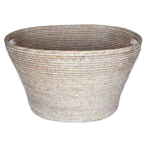"24"" Goucher Oval Basket, Whitewash"