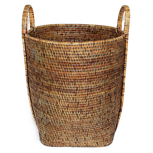 "17"" Ivy Laundry Basket w/ Loop Handles, Brown"