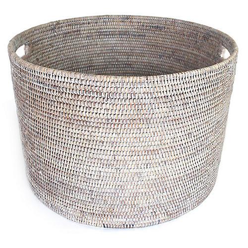 """20"""" Laurel Open Storage Basket, Whitewash"""