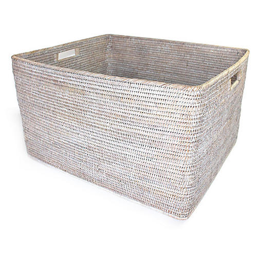 "26"" Lhasa Storage Basket, Whitewash"