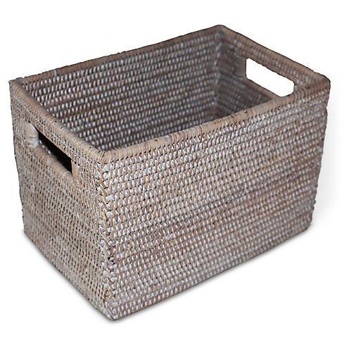 """12"""" Lovett Storage Basket, Whitewash"""