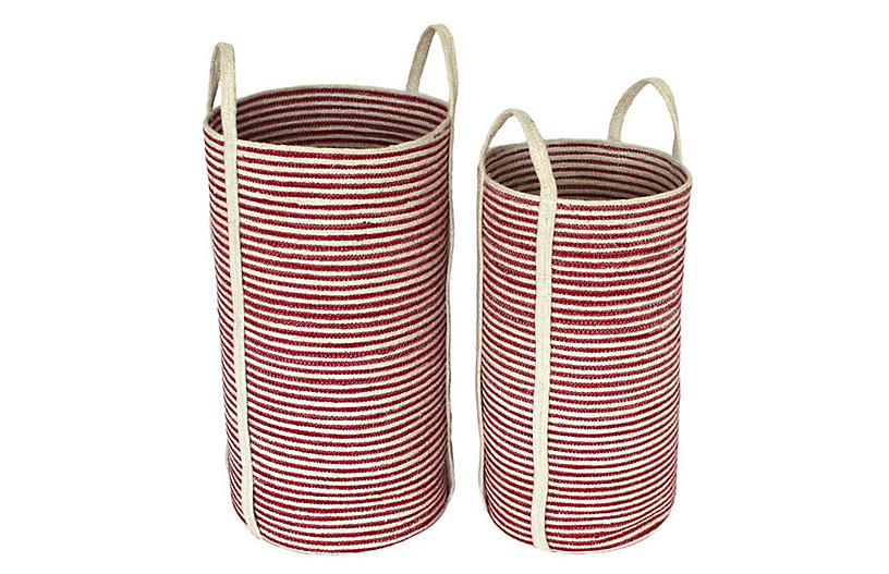 Asst. of 2 Newport Tote Baskets, Red/White