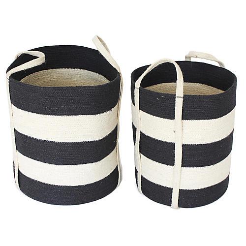 Asst. of 2 Margate Tote Baskets, Dark Gray/White