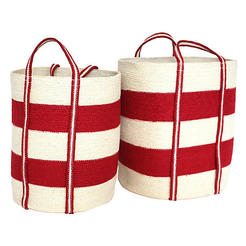 Asst. of 2 Margate Tote Baskets, Red/White