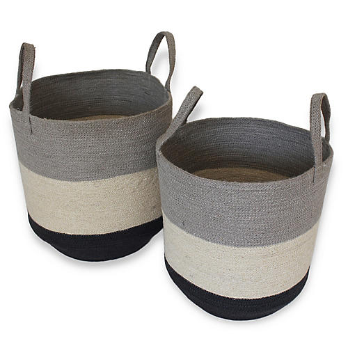 Asst. of 2 Malbay Tote Baskets, Silver Gray/White