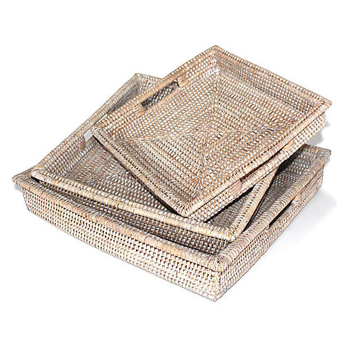 Asst. of 3 Hayden Decorative Trays, Whitewash