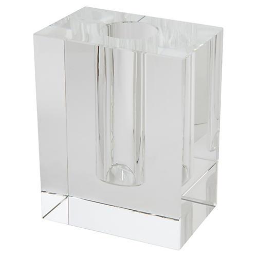 "12"" Swain Rectangular Bud Vase, Crystal"