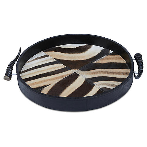 "21"" Zebra Hide & Horn Decorative Tray, Black"